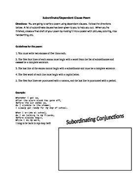Dependent/Subordinate Clause Poem Activity
