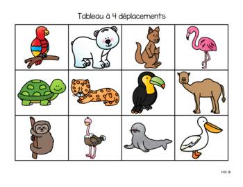 Déplacements sur quadrillage (zoo)