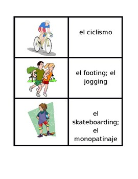 Deportes (Sports in Spanish) Concentration games