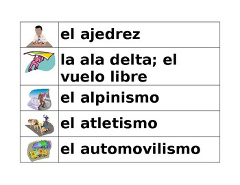 Deportes (Sports in Spanish) Word wall