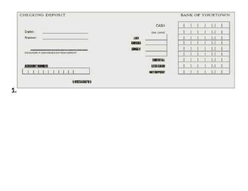 Deposit Slips Review worksheet