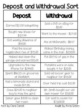 Deposit and Withdrawal Sort