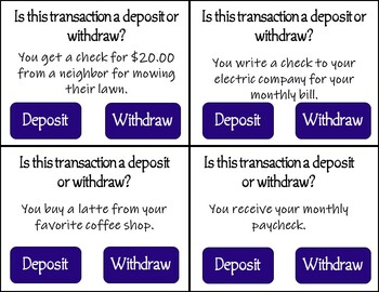 Deposit or Withdraw Task Cards