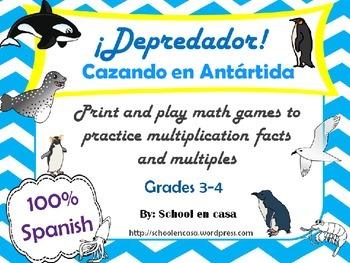 Printable Multiplication Games in Spanish: ¡Depredador! Antártica