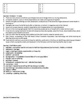 Depression in Teens - Reading Comprehension Worksheet - Informational Text