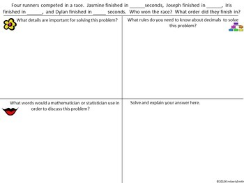 Depth & Complexity Decimal Word Problem Frame