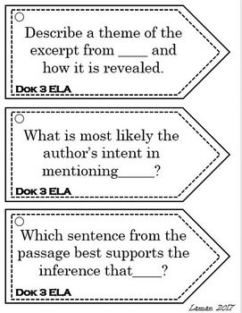 Depth Of Knowledge DOK Question Stems Language Arts