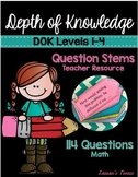 Depth Of Knowledge DOK MATH Question Stems