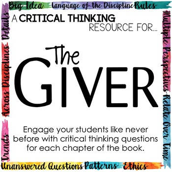 Depth and Complexity  Critical Thinking Resource for The Giver
