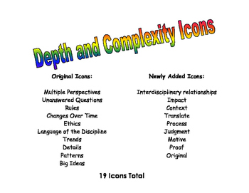 image regarding Depth and Complexity Icons Printable identify Detail Of Complexity Icons Worksheets Instruction Supplies TpT