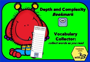 Depth and Complexity (Language of the Discipline) Vocabulary Collector Bookmark