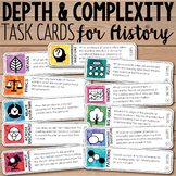 Depth and Complexity  Critical Thinking Task Cards for History/Social Studies