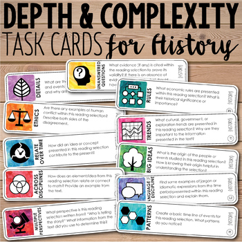 Depth and Complexity  Critical Thinking Task Cards for His