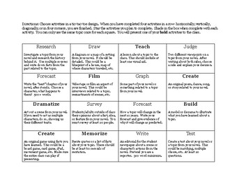 Depth of Knowledge Choice Board for Literature
