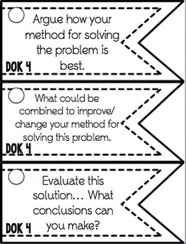 Depth of Knowledge (DOK) 105 Question Stem Cards MATH EDITION
