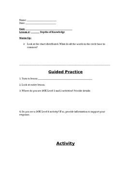 Depth of Knowledge (DOK) Review Activity
