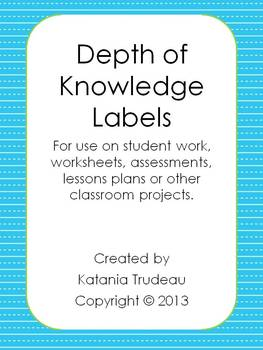 Depth of Knowledge Labels for Lesson Plans and Student Activities