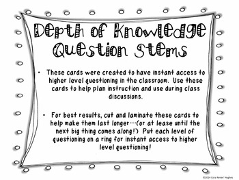 Depth of Knowledge Task Cards