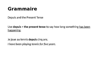 Depuis and the Present Tense