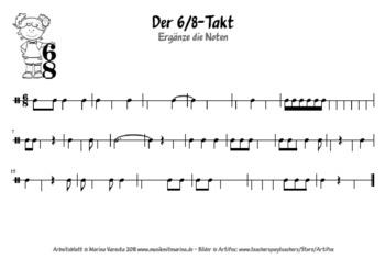 Der 6/8-Takt, Arbeitsblatt für Fortgeschrittene by MusikMitMarina