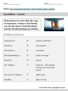 Der Amazonas Brennt! - Advanced German Listening (Printable or Paperless)
