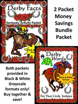 Derby Activities: Derby Facts & Words Bundle Black & White