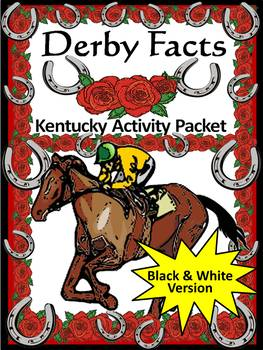 Derby Activities: Derby Facts & Words Bundle Black & White Grayscale Version