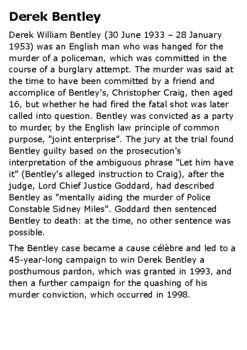 Derek Bentley - Capital Punishment Handout