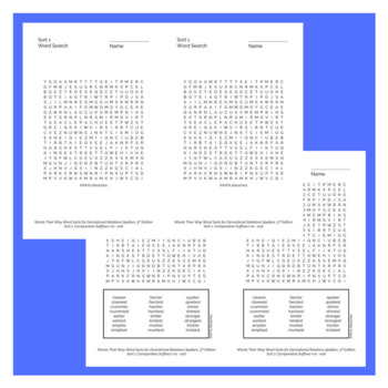 Derivational Relations Spellers Words Their Way Word Searches - 3rd Edition
