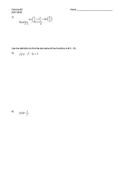 Derivative Definition Practice