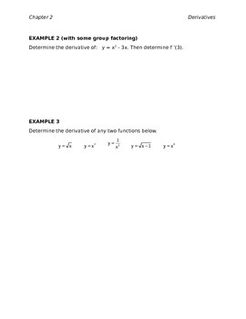 Derivative Rules Chapter Class Notes (Editable)