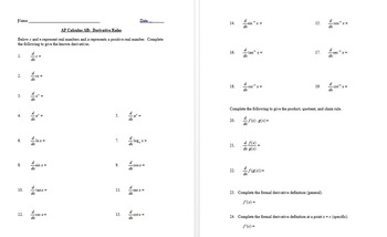 Derivative and Antiderivative Rule Sheets