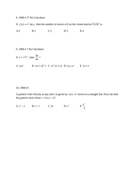 Derivative and integral of  E and LN test or practice test
