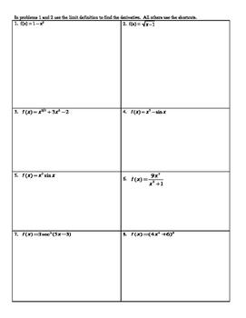 Derivative pairs worksheet