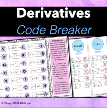 Derivatives: Code Breaker (Power Rule, Logarithms, Exponential Functions)