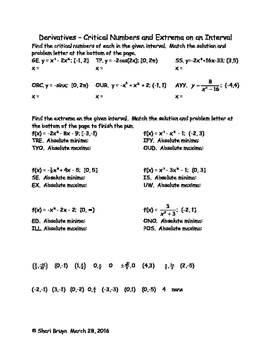 Derivatives - Critical Numbers and Extrema on an Interval