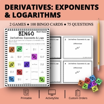 Calculus Derivatives: Exponents and Logarithms Math Bingo Review Game