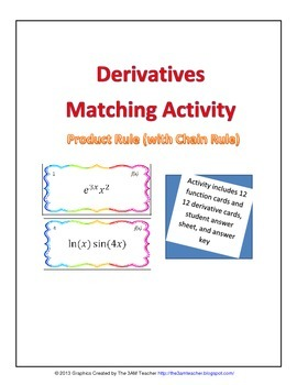 Derivatives Matching Activity: Product Rule (with Chain Rule)