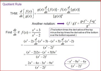 Derivatives - Power, Product, Quotient Rules