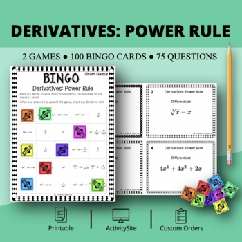 Calculus Derivatives: Power Rule Math Bingo Review Game