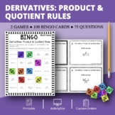 Calculus Derivatives: Product and Quotient Rule Math Bingo