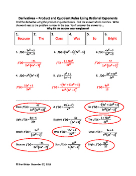 Derivatives - Product and Quotient Rule using Rational Exponents