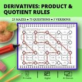Derivatives: Product & Quotient Rules Maze Activity Set- D