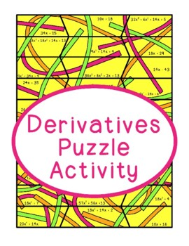 Derivatives Puzzle Matching Functions, Calculus Power Rule, Hands On Activity