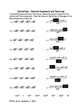Derivatives - Rational Exponents and Factoring