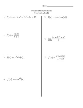 Derivatives Review Worksheet