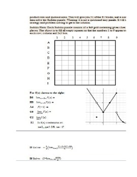 Derivatives Sudoku, game and activity