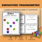 Calculus Derivatives: Trigonometric Math Bingo Review Game
