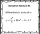 Derivatives Using Power Rule Task Cards