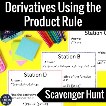 Derivatives Using the Product Rule Scavenger Hunt